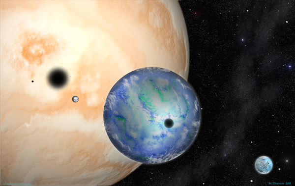 A gas giant system experiences multiple eclipses.
